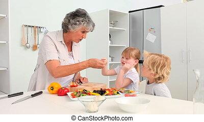 grand-mère, cuisine, elle, grandc