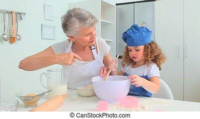 grand-mère, cuisson, fille, ensemble, grandiose
