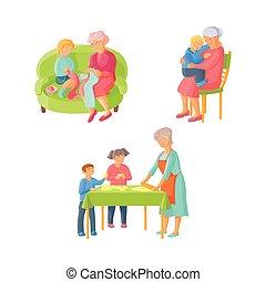 grand-mère, dépenser, temps, à, petits-enfants