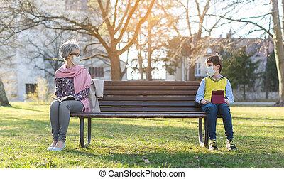 grand-mère, distancing, petit-fils, séparé, social