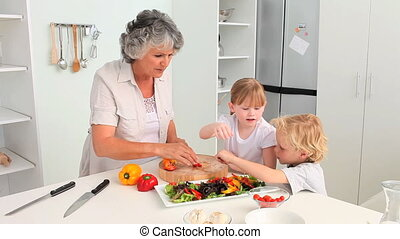 grand-mère, elle, cuisine, grandc