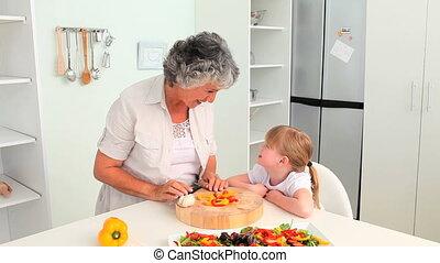 grand-mère, elle, cuisine, grandd