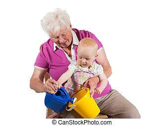 grand-mère, elle, jouer, petit-enfant