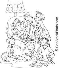grand-mère, fauteuil, enfants