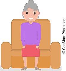 grand-mère, fauteuil, vecteur, dessin animé, séance