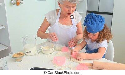 grand-mère, fille, cuisson, elle, grandiose