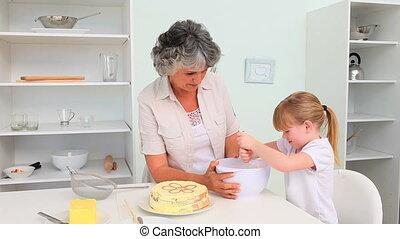 grand-mère, girl, cuisson, elle