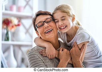 grand-mère, girl, elle