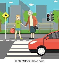 grand-mère, girl, gens, stand, rue, ville, passage clouté