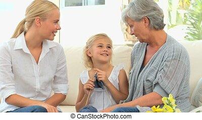 grand-mère, girl, tricot, elle, mère