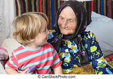 grand-mère, grand, elle, petit-fils