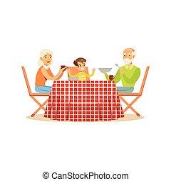 grand-mère, grand-père, et, petit-fils, avoir déjeuner, dehors, famille heureuse, caractères, à, a, pique-nique, vecteur, illustration