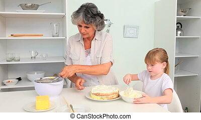 grand-mère, grandda, cuisson, elle