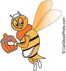 grand-mère, joyeux, abeille