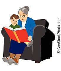 grand-mère, lecture, petit-fils