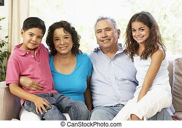 grand-mère, maison, lecture, ensemble, petits-enfants