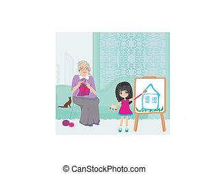 grand-mère, maison, petite-fille, délassant