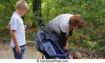 grand-mère, marche, parc, petits-enfants