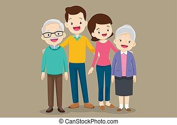 grand-mère, mignon, père, famille, mère