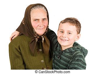grand-mère, neveu, embrasser