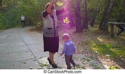 grand-mère, parc, jouer, petits-enfants
