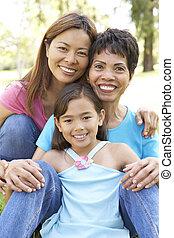 grand-mère, parc, petite-fille, fille