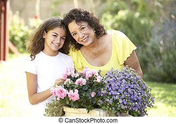 grand-mère, petite-fille, jardinage, ensemble