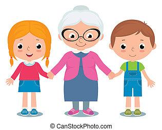 grand-mère, petits-enfants