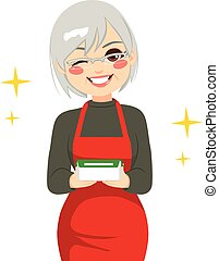 grand-mère, récipient nourriture, tenue, heureux