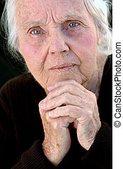 grand-mère, sérieux, grand