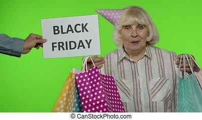 grand-mère, sacs, achats, vendredi, noir, joyeux, inscription, apparaît, publicité, suivant