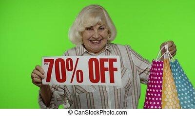 grand-mère, sacs, faire courses ligne, banner., bas, projection, haut, 70, fermé, prix, cent