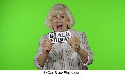 grand-mère, vendredi, noir, escomptes, grandparents., projection, bannière, inscription, grand, femme âgée