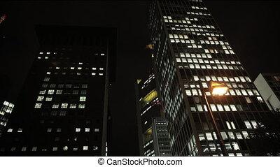 grand, métropole, soir, maisons, panorama, nuit, gratte-ciel...