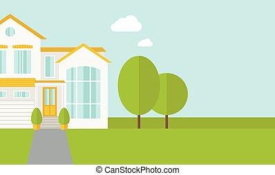 grand, maison, à, arbres
