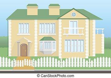 grand, maison, balcon