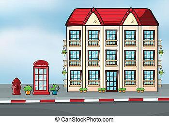 grand, maison, callbox