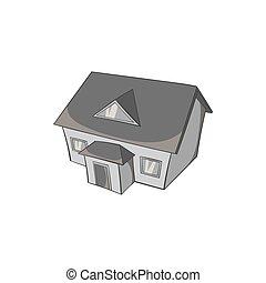grand, maison, grenier, icône