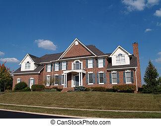 grand, maison, histoire, brique, deux