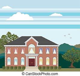 grand, maison, manoir, brique
