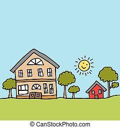 grand, maison, minuscule, suivant