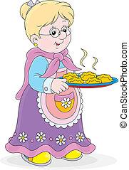 grand-maman, à, tartes
