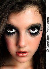 grand, maquillage, beutiful, jeune, closeup, girl