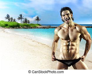 grand, modèle, mâle, sourire, fitness