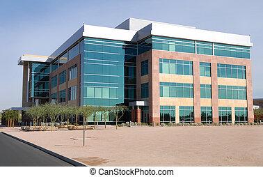 grand, moderne, bâtiment bureau