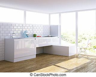 grand, moderne, clair, fenêtre, intérieur, blanc, cuisine