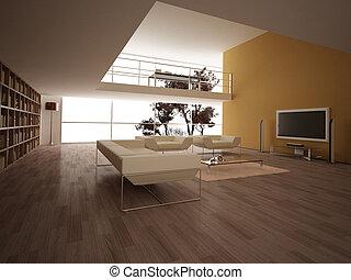 grand, moderne, livingroom.
