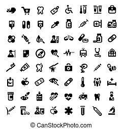 grand, monde médical, ensemble, icônes