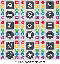 grand, moniteur, ensemble, sablier, bande vidéo, plat, point de contrôle, symbole., boutons, arrêt, voiture, écouteurs, design., étoile, ton, icône, coloré