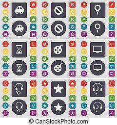 grand, moniteur, ensemble, sablier, bande vidéo, plat, point de contrôle, symbole., boutons, arrêt, vecteur, voiture, écouteurs, design., étoile, ton, icône, coloré
